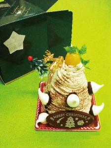 和栗のモンブラン風クリスマスケーキ